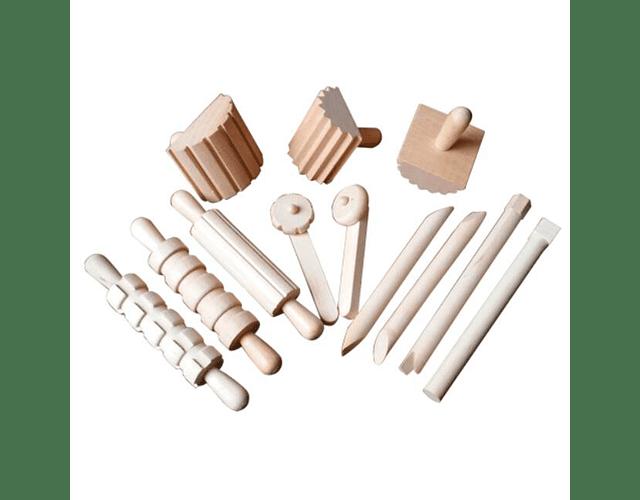 Herramientas de madera para arena Mágica Edukim 12 Pzas.