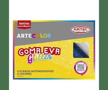 ARTECOLOR GOMA EVA GLITTER C/ADHESIVO