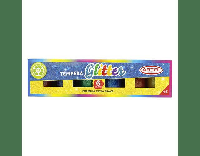 Estuche Témpera Glitter 6 Colores Artel
