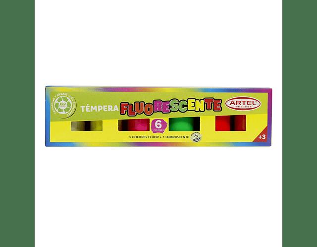 Estuche Témpera Fluorescente + Luminiscente 6 Colores Artel