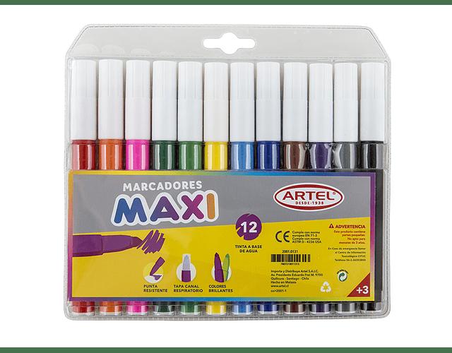 Estuche Marcadores Maxi Artel 12 Colores