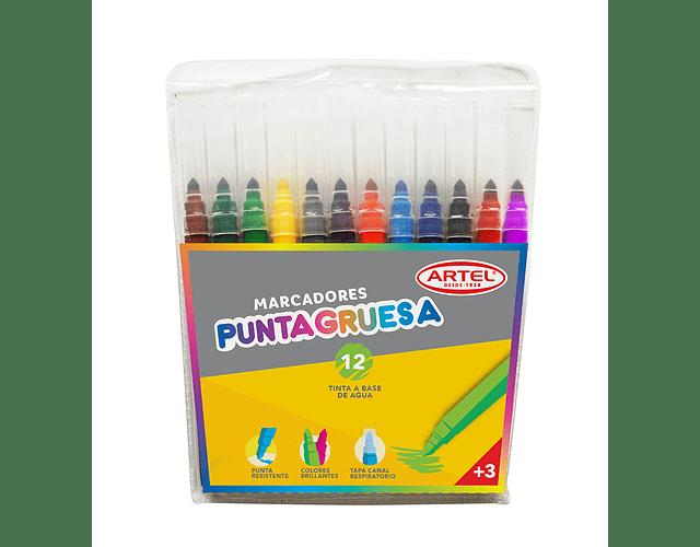 Estuche Marcadores Punta Gruesa Artel 12 Colores