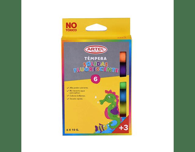 Témpera Solida Fluorescente 6 Colores