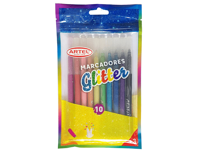 Estuche Marcador Glitter Artel 10 Unidades