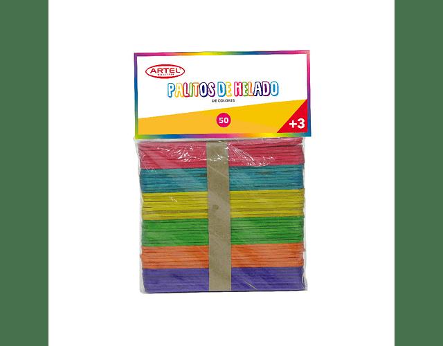 Palitos De Helado Colores Bolsa 50 Unidades