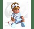 Muñeca Niña vestido celeste cuadros