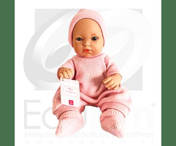 Muñeca niña con body y gorro rosado