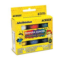 Tempera Guache Glitter 6 potes 15ml Unidad
