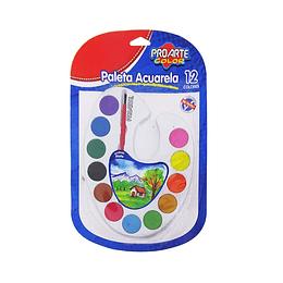 Paleta Acuarela 12 Colores Unidad