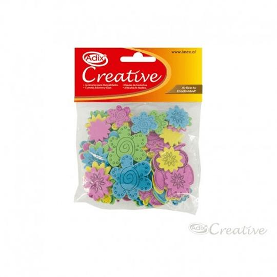 Búhos y Flores de Goma Eva Adhesiva