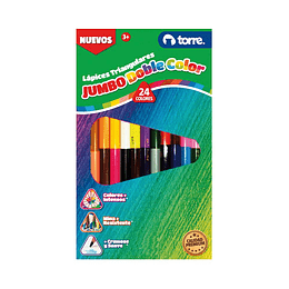 Lápices jumbo doble color 12x24 triangulares