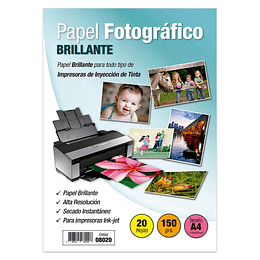 PAPEL FOTOGRÁFICO A4 BRILLANTE 50 GR