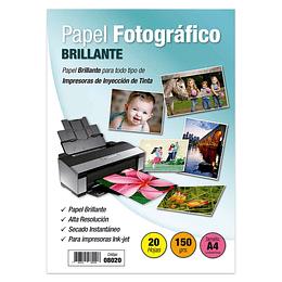PAPEL FOTOGRÁFICO A4 BRILLANTE 150 GR