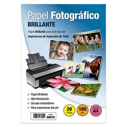 PAPEL FOTOGRÁFICO. A4 BRILLANTE 180 GR