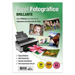 PAPEL FOTOGRÁFICO BRILLANTE A4 200 GR