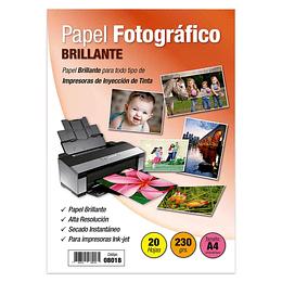 PAPEL FOTOGRÁFICO BRILLANTE A4. 230 GR