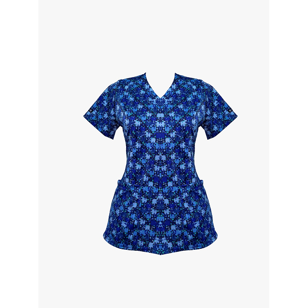 Blusa Estampada diseño Azul Mistico