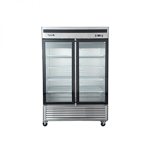 Freezer Acero Inoxidable, 2 Puertas de Vidrio VENTUS.