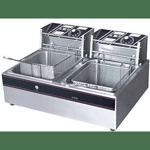 Freidora eléctrica de sobremesa 2 depósitos 11 lts c/u KFB