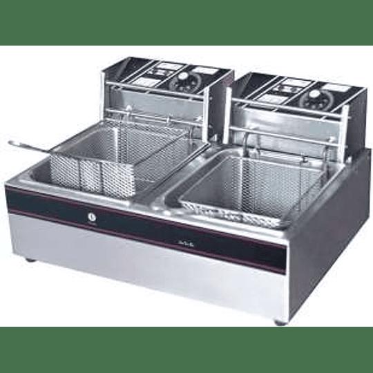 Freidora electrica de sobremesa con 2 depositos KFB
