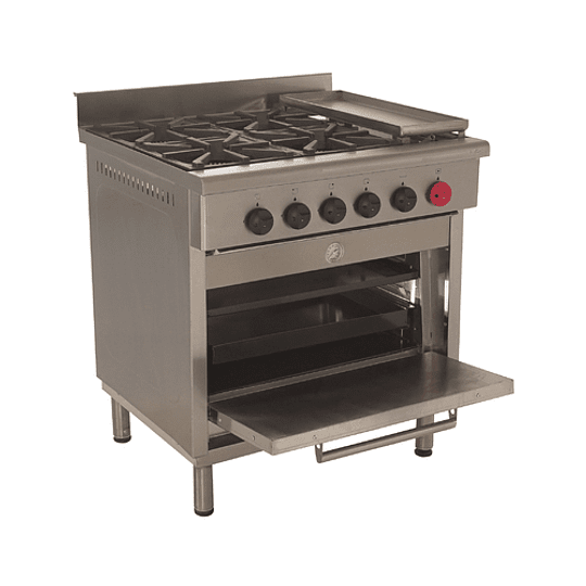 Cocina Industrial 4 Platos 300x300 con Plancha Churrasquera MAIGAS. - Image 1