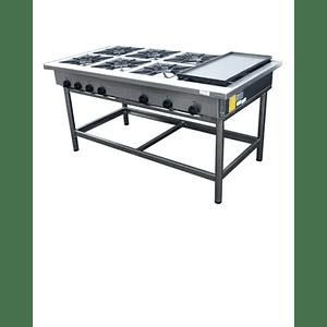 Anafe Industrial 6 platos 350x350 mm. con Churrasquera MAIGAS
