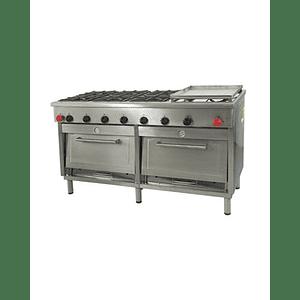 Cocina Industrial 6 platos con plancha churrasquera grande MAIGAS