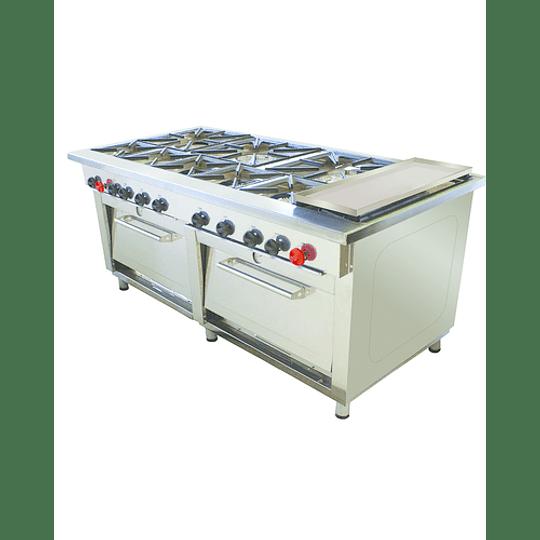 Cocina Industrial 8 platos con Churrasquera MAIGAS