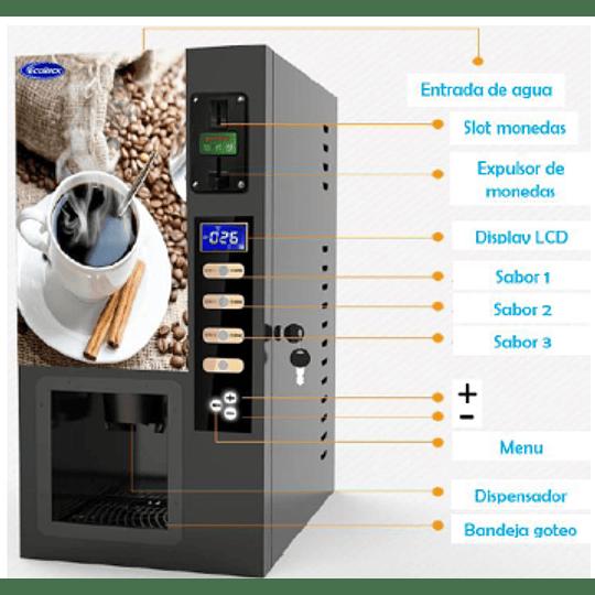 Máquina café con monedero 3 depósitos ECOBECK