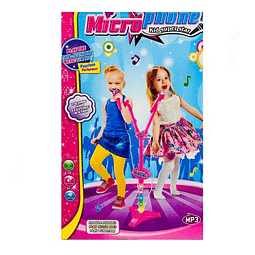 Micrófono Doble Star Party Mp3 Led Pedestal Niñas Niños