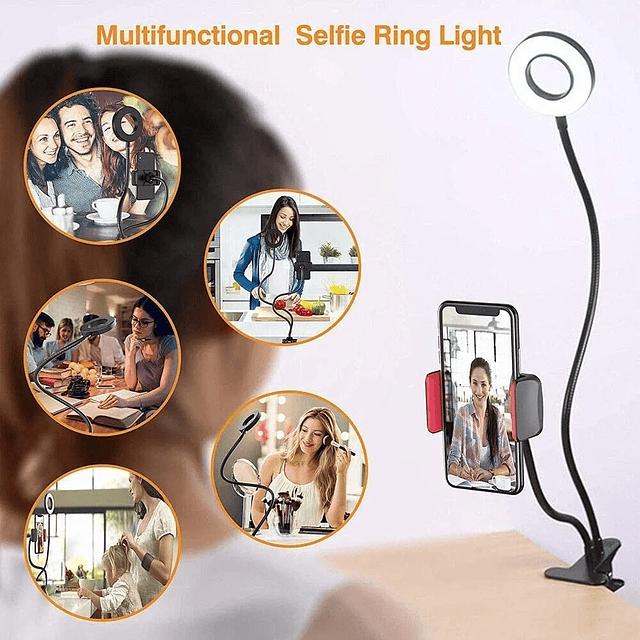Lámpara Escritorio Aro Luz Fotografia Led Selfie Tiktok 2en1