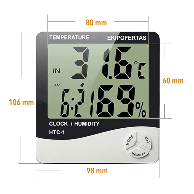 Higrometro Termometro Reloj Alarma Indoor