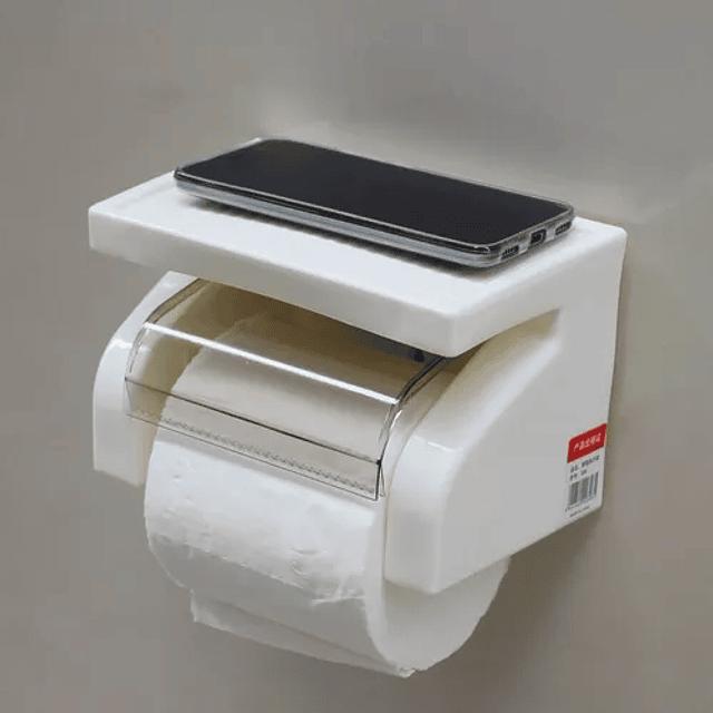 Dispensador Papel Higiénico Soporte Celular Ventosa Bathlux