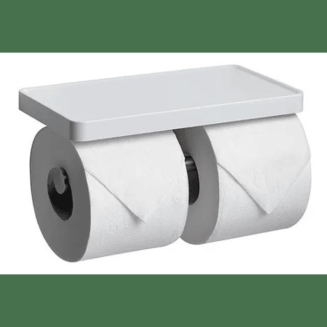 Dispensador Porta Rollo Papel Higiénico Doble Ventosa Pared