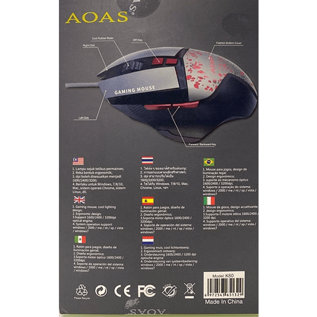 Mouse Gamer Aoas K80 Usb 1600 3200 Dpi Rgb