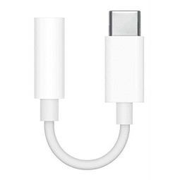 Adaptador Usb Tipo C A Jack Audio 3.5mm Auxiliar Blanco