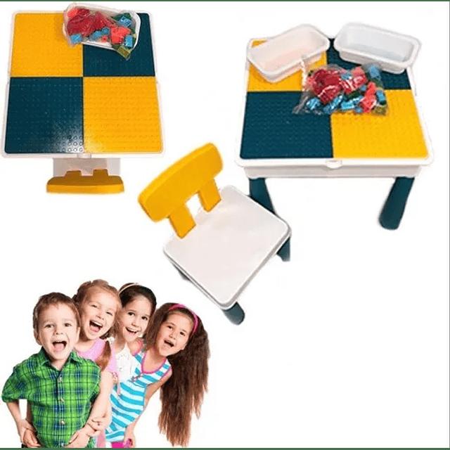 Mesa Lego Juego Niños + Silla + 56 Legos
