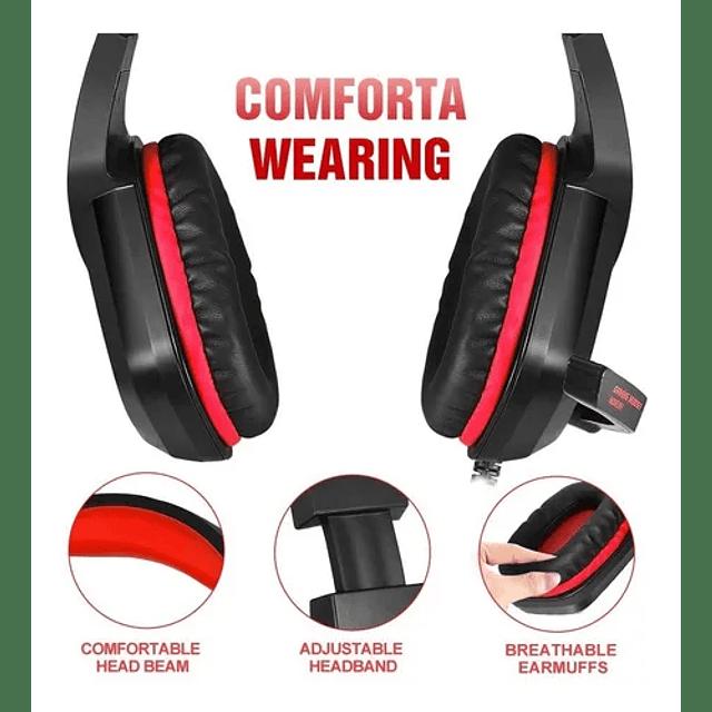 Audífonos Gamer Micrófono Consolas Rojos