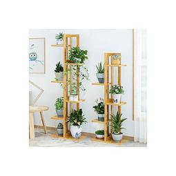 Estante Rack De Bambu Decorativo Multi Niveles Madera