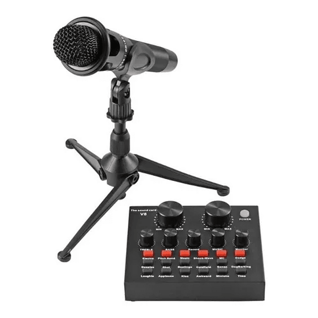 Tarjeta De Sonido V8 Transmisión En Vivo + Micrófono
