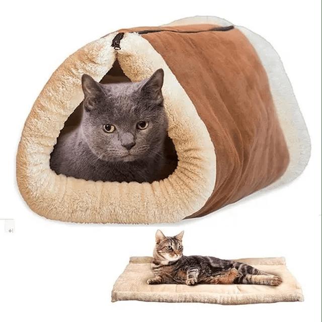 Cama Túnel Polar Para Gatos 2 En 1 Mascotas