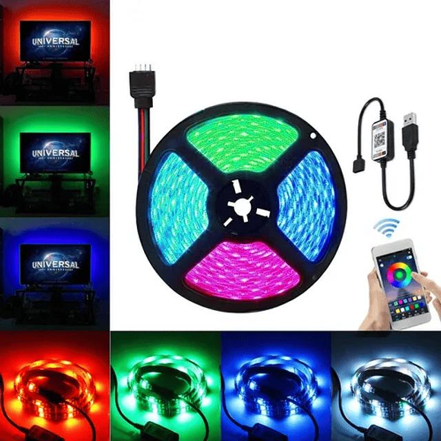 Cinta Tira Luz Led Control Rgb 5050 Bluetooth 5 Metros