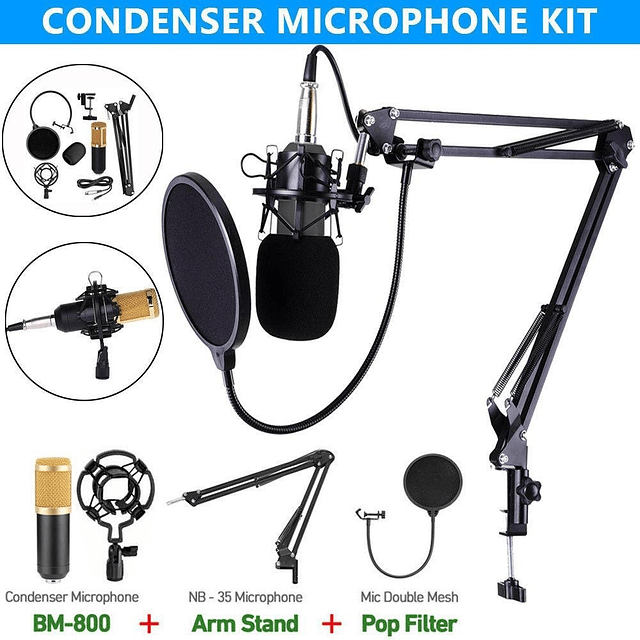 Micrófono Condensador Con Atril Y Antipop Tasbel