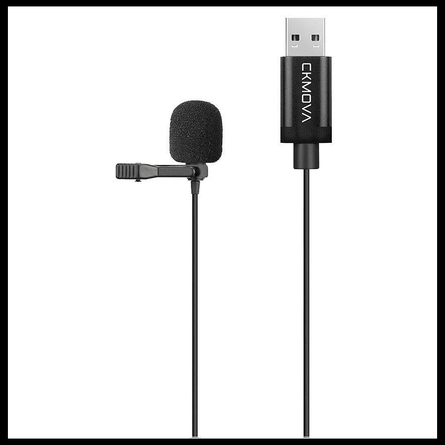 Microfono Ckmova Lavalier USB para Computador Windows y Mac 2 metros de largo