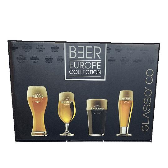 SET 4 EUROPE BEER GLASSO
