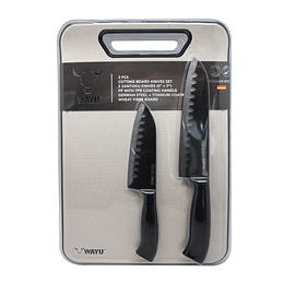 SET CUCHILLOS SANTOKU + TABLA WAYU