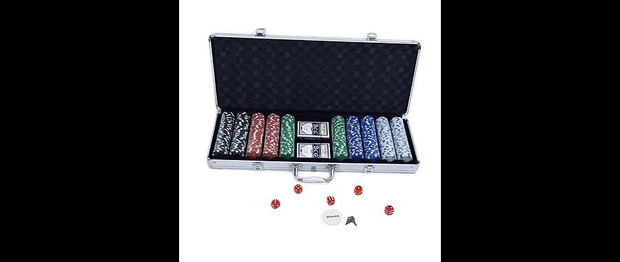 Caja 500 fichas poker 11 gr con naipes y dados