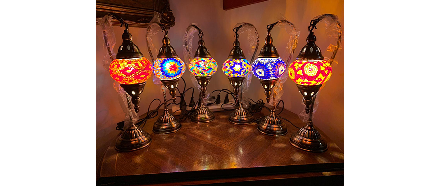 Lámpara turca tipo cisne mosaico multicolor