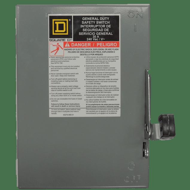 Interruptor de seguridad modelo HU sin porta fusible