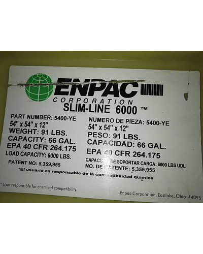 4 tambores Poly-Slim-Line 6000 MCA. ENPAC Corporation